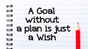 A Goal Without A Plan is Just a Wish Text written on notebook page, red pencil on the right. Motivational Concept image
