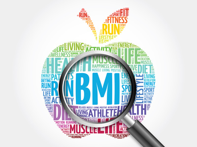 BMI - Body Mass Index, apple word cloud with magnifying glass, health concept